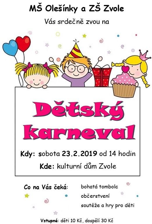 Plakát - dětský karneval 23.2.2019 (1)